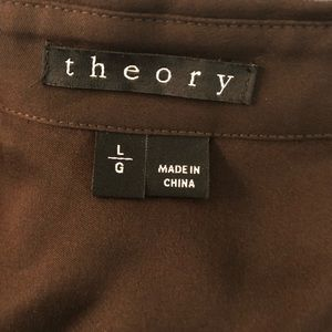 Theory Tops - Theory Dk chocolate brown silk button down